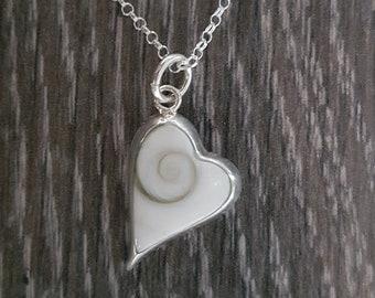 Shiva Eye & Sterling Silver Long Heart Necklace