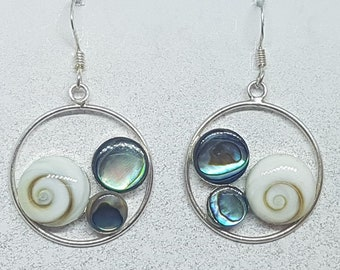 Shiva Eye with Abalone Shell & Sterling Silver Disk Earrings