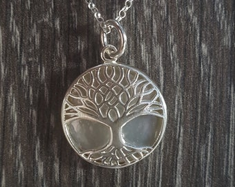 Mother of Pearl & Sterling Silver Ornate Tree of Life Necklace
