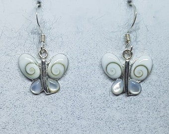 Shiva Eye with Mother of Pearl & Sterling Silver Butterfly Earrings