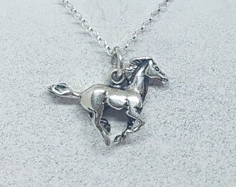 Sterling Silver Galloping Horse Necklace