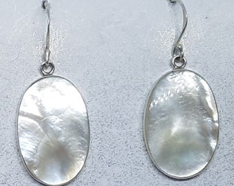 Mother of Pearl & Sterling Silver Oval Earrings