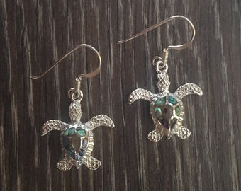 Abalone Shell & Sterling Silver Turtle Earrings