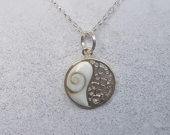 Shiva Eye & Sterling Silver Ying Yang Necklace