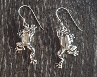 Mother of Pearl & Sterling Silver Frog Earrings