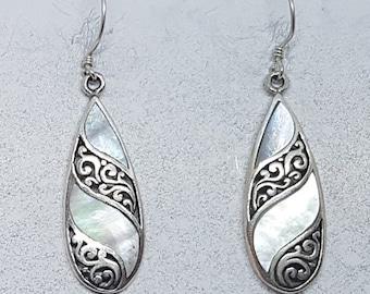 Mother of Pearl & Sterling Silver Stripped Teardrop Earrings