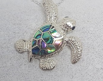 Abalone Shell & Sterling Silver Turtle Necklace