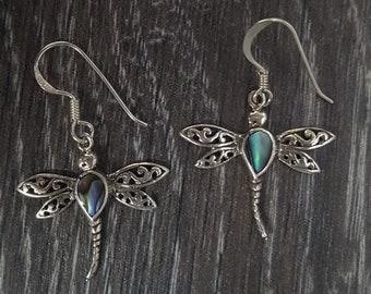 Abalone Shell & Sterling Silver Ornate Dragonfly Earrings