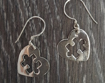Sterling Silver Piece of My Heart Earrings