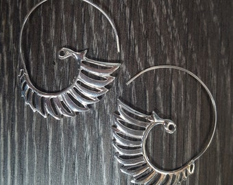 Sterling Silver Fancy Through Ear Hoop Earrings