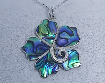 Abalone Shell & Sterling Silver Hibiscus Flower Necklace