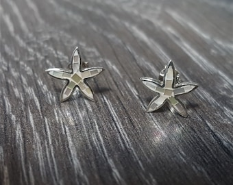 Mother of Pearl & Sterling Silver White Mosaic Starfish Stud Earrings