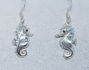 Mother of Pearl & Sterling Silver Seahorse Earrings