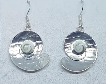 Shiva Eye & Sterling Silver Beaten Swirl Earrings