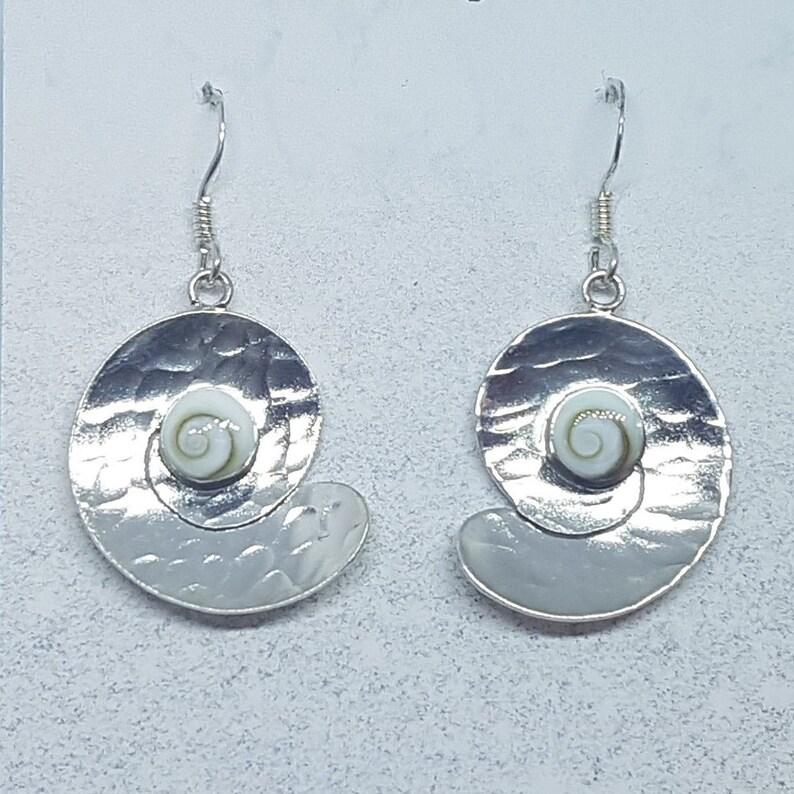 Shiva Eye /& Sterling Silver Beaten Swirl Earrings