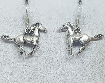 Sterling Silver Galloping Horse Earrings