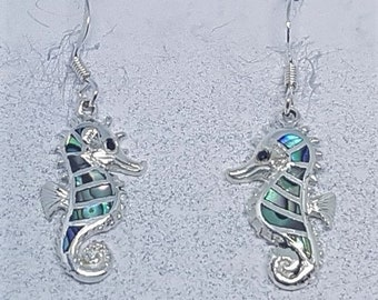 Abalone Shell & Sterling Silver Seahorse Earrings