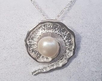 Freshwater Pearl & Sterling Silver Fancy Swirl Necklace