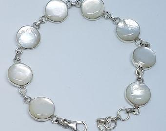 Mother of Pearl & Sterling Silver Adjustable Round Bracelet