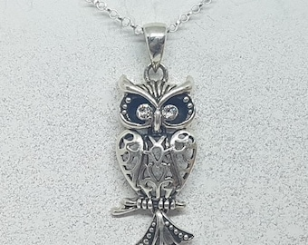 Sterling Silver with Cubic Zirconia Articulated Barn Owl Necklace