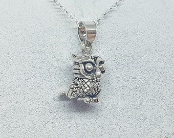 Sterling Silver Articulated Wise Owl Necklace