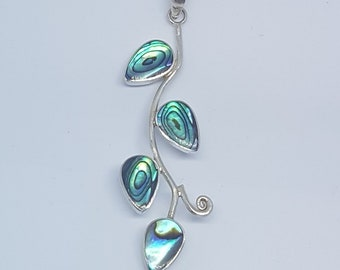 Abalone Shell & Mother of Pearl Double Sided Sterling Silver Branch Pendant