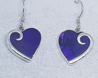 Abalone Shell with Purple Resin & Sterling Silver Heart Earrings