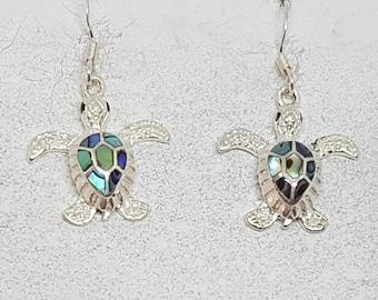 Abalone Shell & Sterling Silver Turtle Earrings