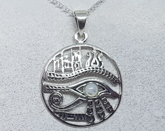 Mother of Pearl & Sterling Silver Eye of Horus Necklace
