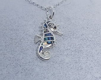 Abalone Shell & Sterling Silver Seahorse Necklace