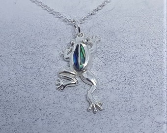 Abalone Shell & Sterling Silver Frog Necklace