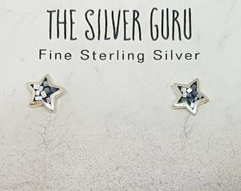 Black Shell & Sterling Silver Mosaic Star Stud Earrings