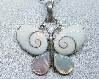 Shiva Eye with Mother of Pearl & Sterling Silver Butterfly Necklace