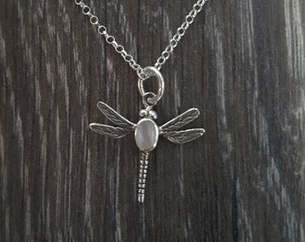 Mother of Pearl & Sterling Silver Dragonfly Necklace