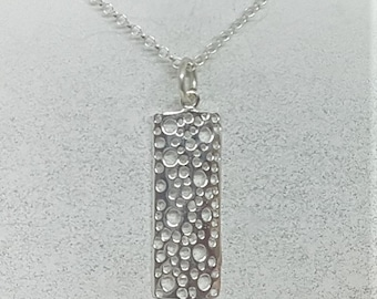Sterling Silver Bubble Rectangle Necklace