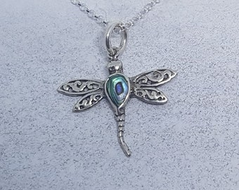 Abalone Shell & Sterling Silver Ornate Dragonfly Necklace