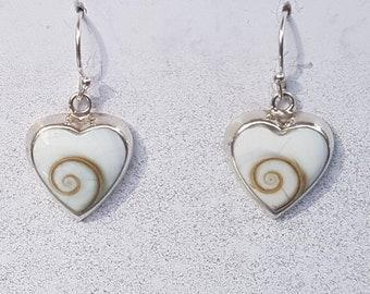 Shiva Eye & Sterling Silver Heart Inlay Earrings
