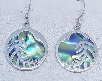 Abalone Shell & Sterling Silver Kiwi Earrings