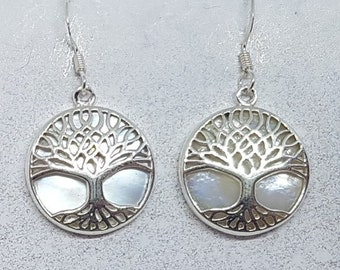 Mother of Pearl & Sterling Silver Ornate Tree of Life Earrings