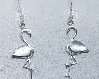 Mother of Pearl & Sterling Silver Flamingo Earrings