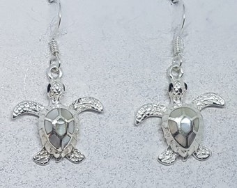 Mother of Pearl & Sterling Silver Turtle Earrings