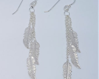 Sterling Silver Multi Feather Drop Earrings