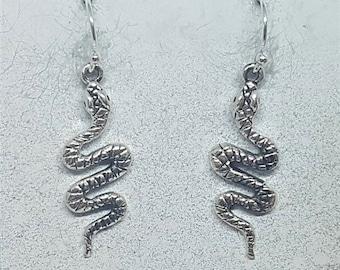 Sterling Silver Coiled Snake Earrings
