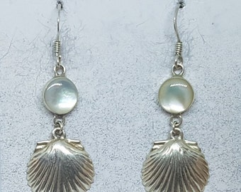Mother of Pearl & Sterling Silver Shell Earrings