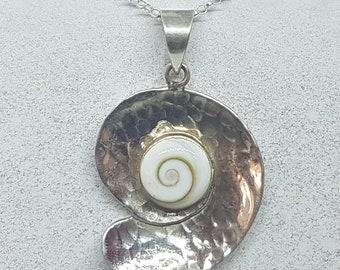 Shiva Eye & Sterling Silver Beaten Swirl Necklace