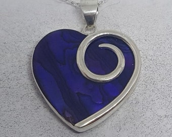 Abalone Shell with Purple Resin & Sterling Silver Heart Necklace