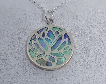Abalone Shell & Sterling Silver Lotus Flower Necklace