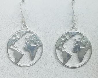 Sterling Silver World Map Earrings