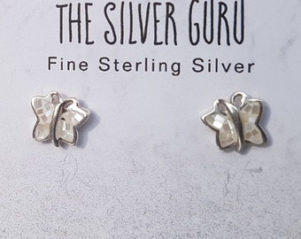 Mother of Pearl & Sterling Silver White Mosaic Butterfly Stud Earrings