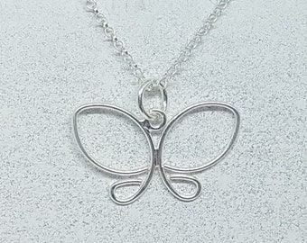 Sterling Silver Wire Butterfly Necklace